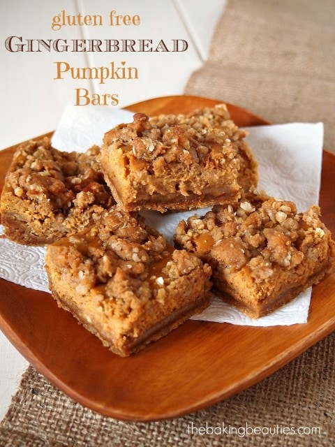 Gluten Free Gingerbread Pumpkin Bars from The Baking Beauties