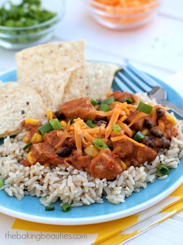 Ready in under 30 minutes! Mexican Chicken Skillet Dinner by The Baking Beauties. Great on rice, pasta, in a burrito, or on nachos. #chickendotca