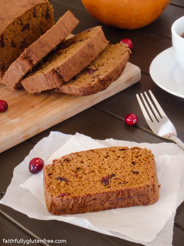 Slices of gluten free pumpkin cranberry bread
