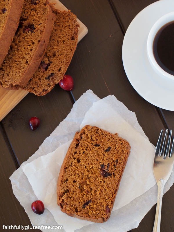 Slice of pumpkin cranberry loaf