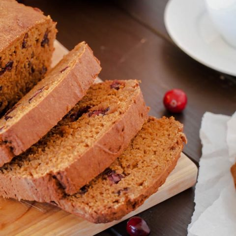 Slices of pumpkin cranberry loaf
