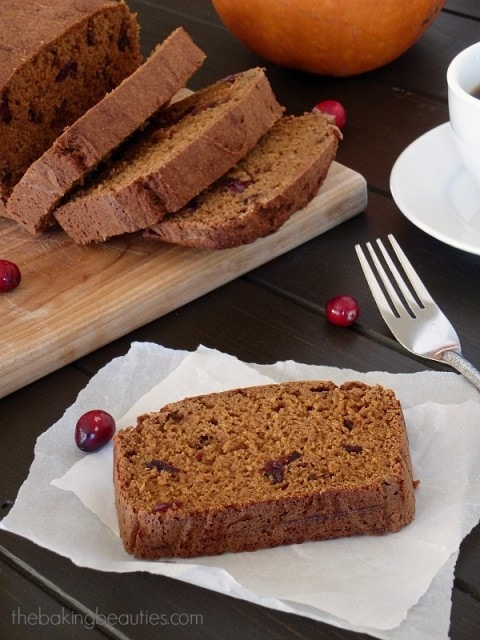 This moist Gluten Free Pumpkin Cranberry Bread makes a great breakfast or snack any time of the day!