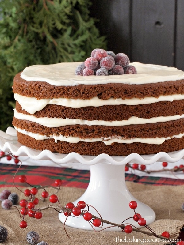 Gluten Free Gingerbread Cake with Eggnog Cream Cheese Frosting from Faithfully Gluten Free