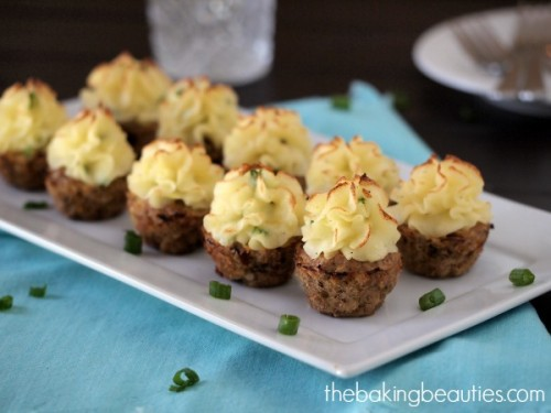 Potato Topped Turkey Meatloaf Bites by The Baking Beauties