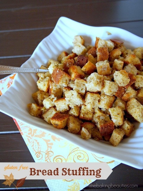 Gluten Free Bread Stuffing from The Baking Beauties