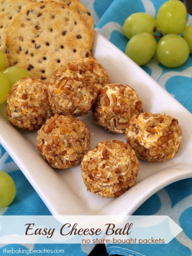 Easy Cheese Ball that uses no seasoning packets from The Baking Beauties