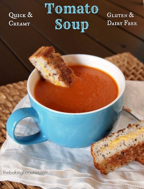 Creamy Gluten Free and Dairy Free Tomato Soup from The Baking Beauties