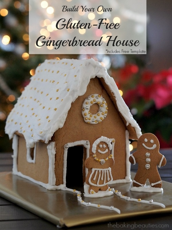 A cute gluten free Gingerbread House with white icing, decorated with silver and gold