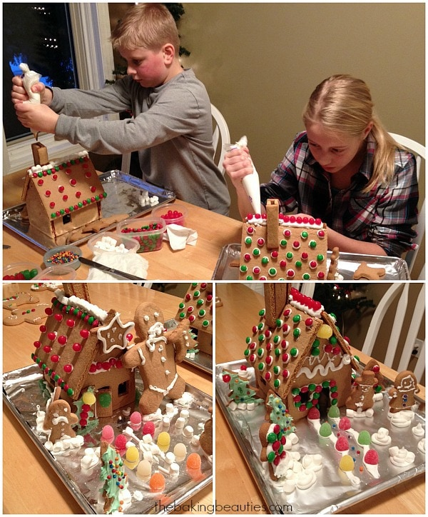 Children decorating their gluten free gingerbread houses with lots of colourful candy.