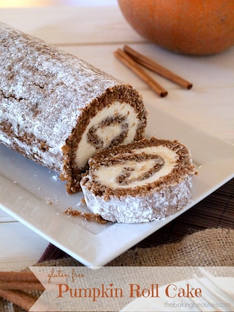 Gluten Free Pumpkin Roll Cake from The Baking Beauties