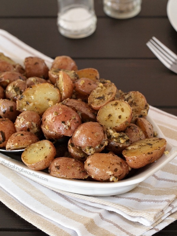 Roasted Pesto Potatoes - The Baking Beauties