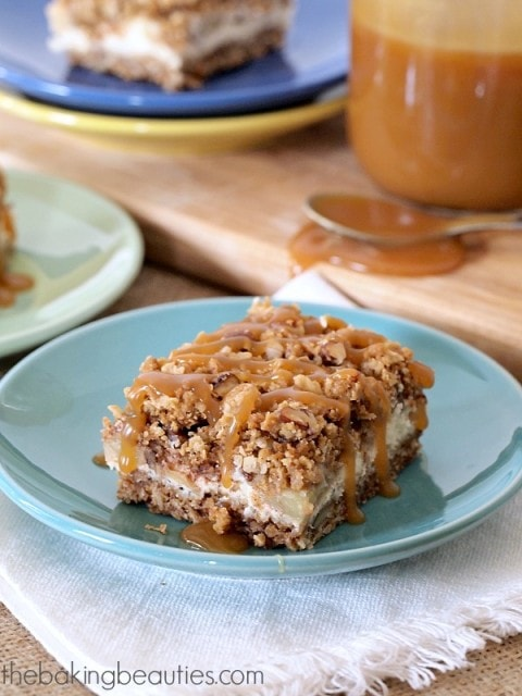 Gluten Free Caramel Apple Cheesecake Bars from The Baking Beauties