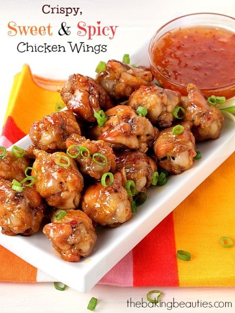 Crispy, Sweet and Spicy Chicken Wings (Baked) from the Baking Beauties