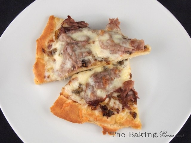 Gluten Free Philly Cheese Steak Pizza from The Baking Beauties
