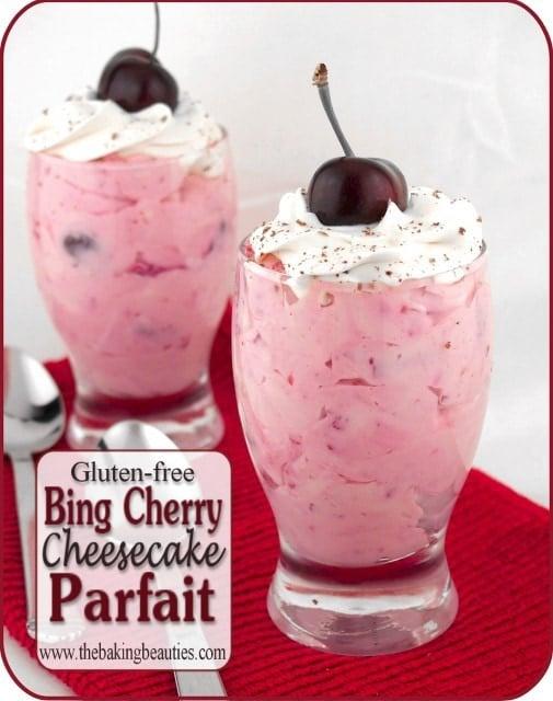 Dark Red Cherry Cheesecake Parfait from The Baking Beauties