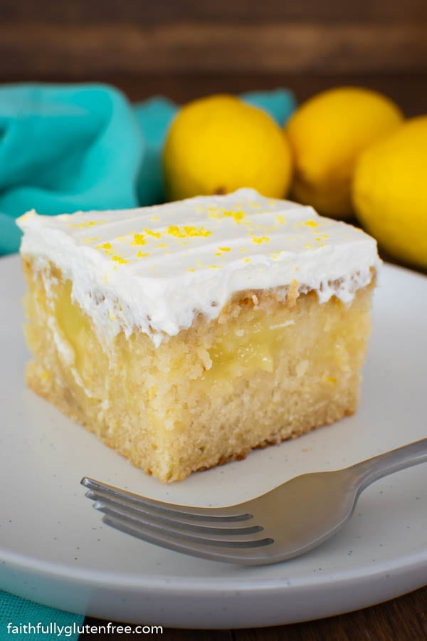 Piece of lemon cake on a white plate