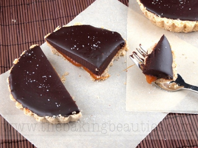 Gluten Free Salted Caramel Chocolate Tarts from the Baking Beauties
