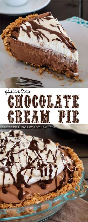 A slice of No Bake Gluten Free Chocolate Cream Pie made with a pretzel crust