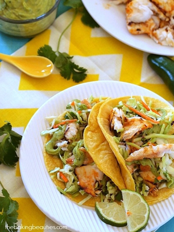 Grilled Fish Tacos - The Baking Beauties