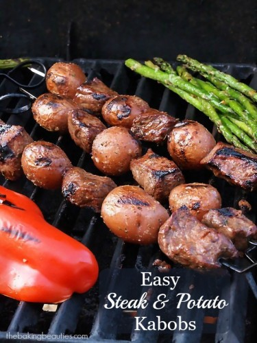 Fire up the grill for these easy Steak and Potato Kabobs from The Baking Beauties