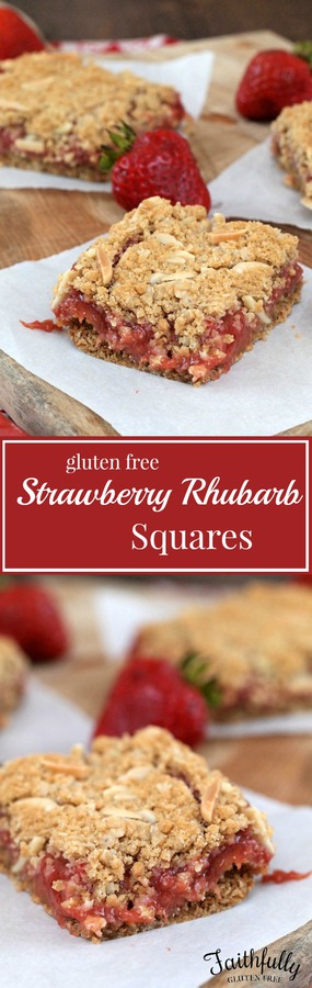 Gluten Free Strawberry Rhubarb Squares - these squares are so good! I LOVE rhubarb and strawberries!