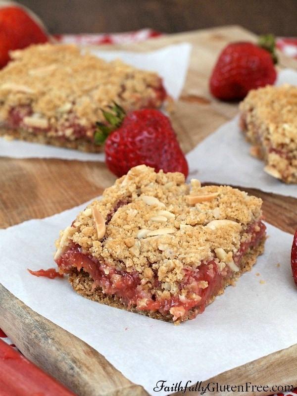 Gluten Free Strawberry Rhubarb Squares