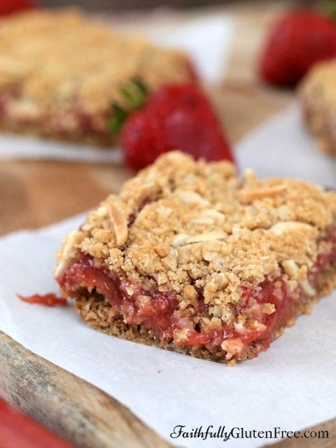 Gluten Free Strawberry Rhubarb Squares
