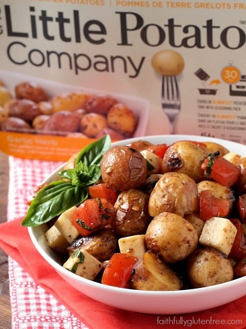 An easy Caprese Potato Salad with Creamer potatoes, tomato, basil, and mozzarella cheese.