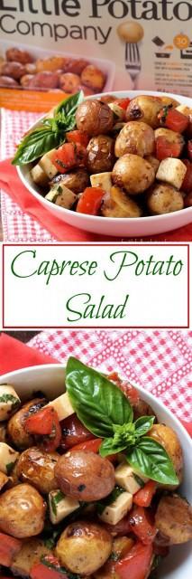 An easy Caprese Potato Salad with Creamer potatoes, tomato, basil, and mozzarella cheese.