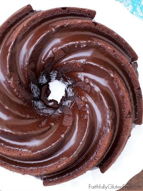Gluten Free Chocolate Buttermilk Bundt Cake from Faithfully Gluten Free