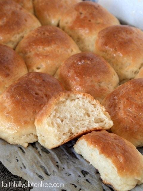 Soft, warm Gluten Free Dinner Rolls in an hour from Faithfully Gluten Free