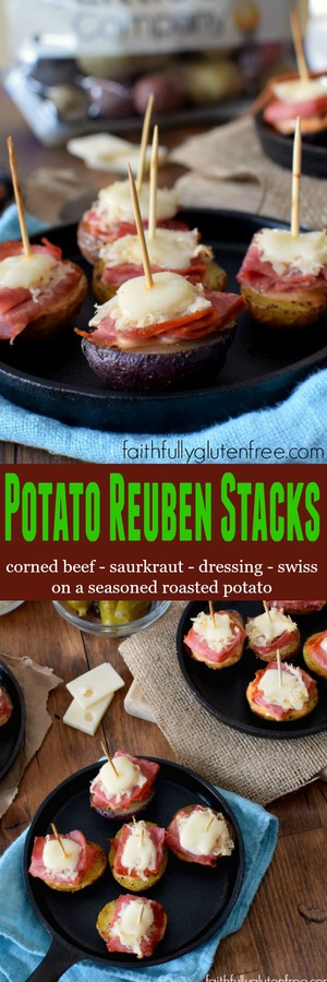 Potato Reuben Stacks - corned beef, saurkraut, dressing & Swiss cheese on a seasoned, roasted Creamer potato from Faithfully Gluten Free
