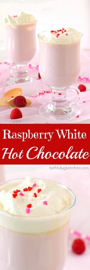 Warm up with this fun Raspberry White Hot Chocolate from Faithfully Gluten Free