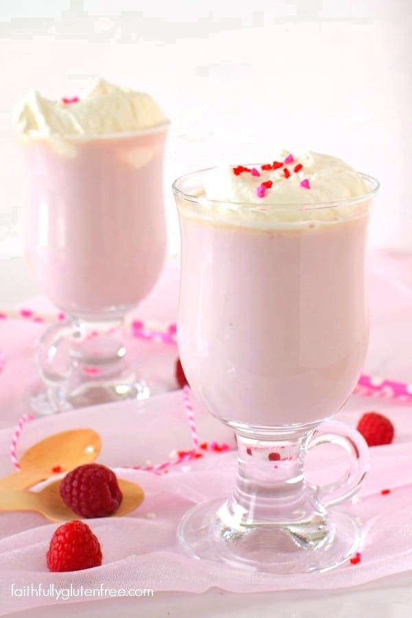 Make a Raspberry White Hot Chocolate for a quick, fun treat for your sweetie this Valentine's Day from Faithfully Gluten Free