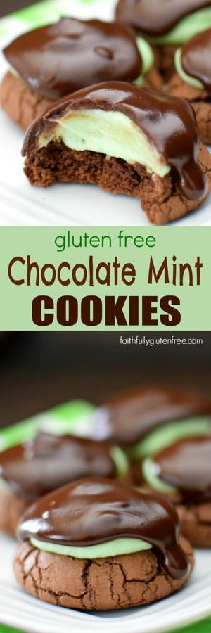 A soft, brownie-like cookie is the base for these Gluten Free Chocolate Mint Cookies