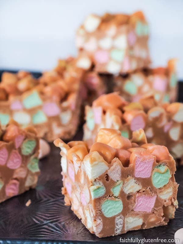 Only four ingredients and about 15 minutes time are needed to make these fun, naturally gluten free, Peanut Butter Confetti Squares.