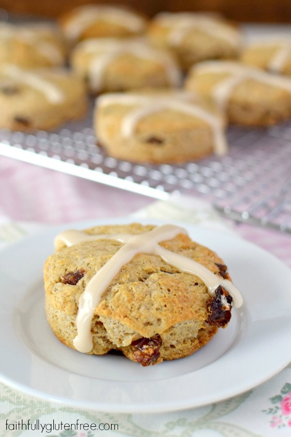 Filled with raisins and spices, these gluten free Hot Cross Scones are hot from the oven in under 30 minutes, making them perfect for Easter brunch.