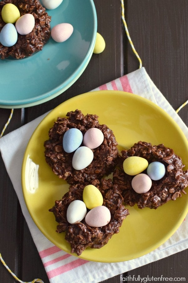 Have fun this Easter with these cute gluten free No Bake Chocolate Nests. Nestled inside is a special treat that everyone loves this time of year, chocolate mini eggs.
