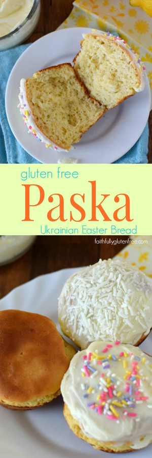 Gluten Free Easter Bread, also known as Paska, has been a part of my family's Easter tradition for years. A sweet bread, with orange and lemon zest, topped with icing. What's not to love?