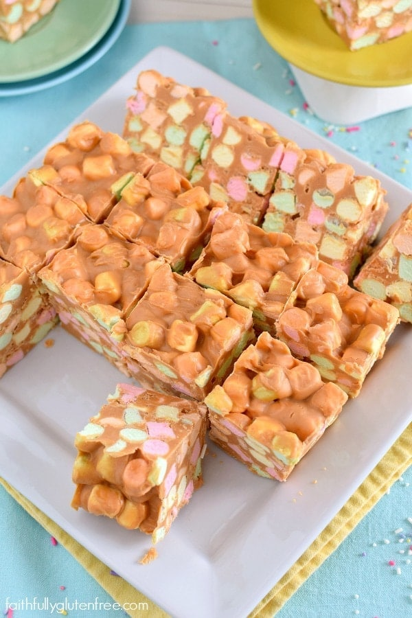 A piece of Butterscotch Confetti Squares with colorful marshmallows
