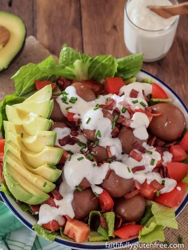 Try something new this summer like this easy layered BLT Potato Salad (Avocado optional)