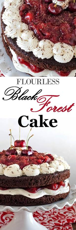 Flourless Black Forest Cake - no special flours needed to create this decadent dessert! A quinoa chocolate cake, whipped cream, and homemade cherry pie filling. Perfect!