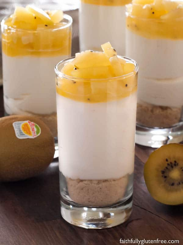 Summer entertaining is easy with these Individual Kiwi, Lemon and Honey No Bake Cheesecakes!