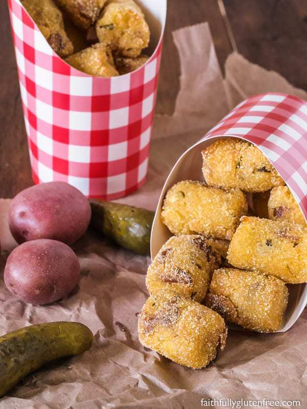 Fried Potato Pickle Pops - These are so good! Creamy mashed potato, chopped dill pickle, coated in cornmeal.
