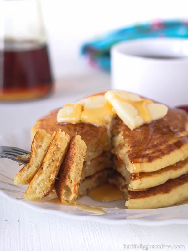Making Light and Fluffy Gluten Free Buttermilk Pancakes from scratch isn't difficult. Whip up a batch of these fluffy pancakes in minutes. Once you've had them, prepackaged pancake mixes will be a thing of the past.