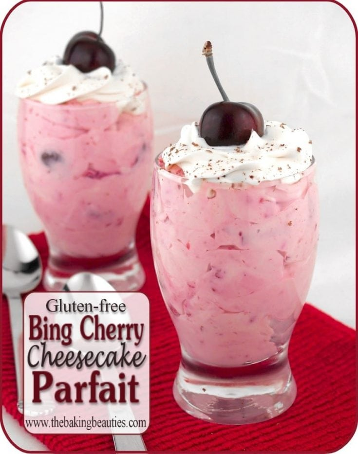 Gluten-free Bing Cherry Cheesecake Parfaits