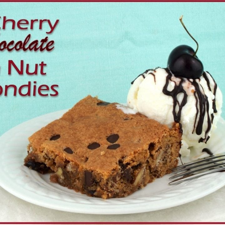 Gluten-free Cherry Chocolate 'n Nut Blondies