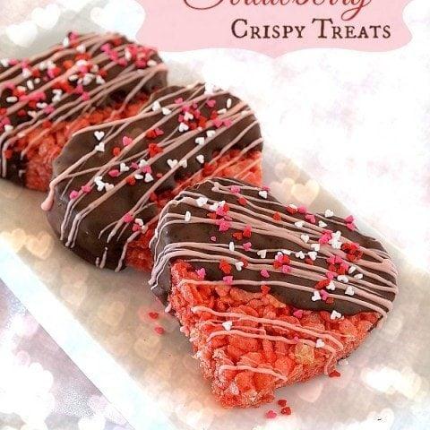 Chocolate Dipped Strawberry Crispy Treats