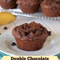 Gluten Free Double Chocolate Peanut Butter Banana Muffins