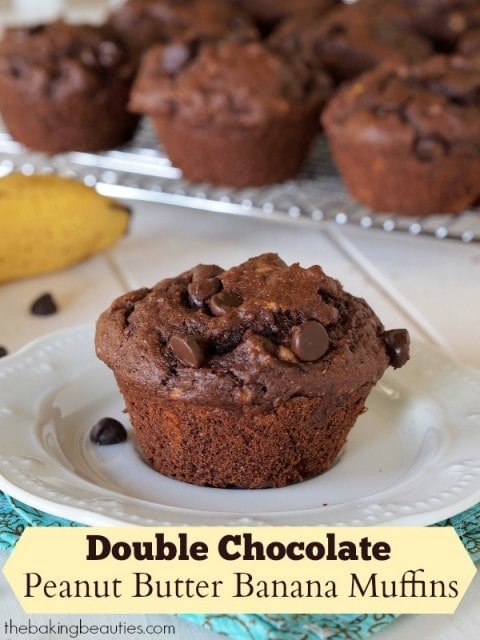 Gluten Free Double Chocolate Peanut Butter Banana Muffins